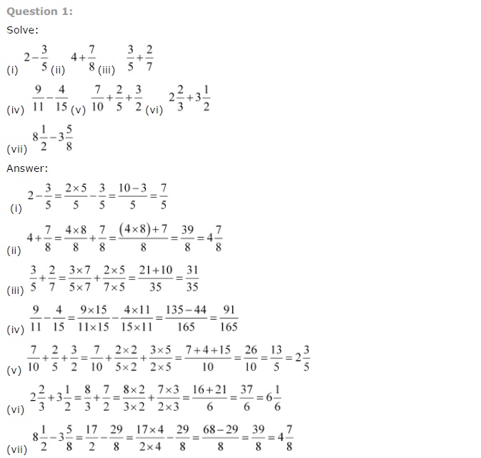 Solutions for Class 7th Maths Chapter 2 - Fractions and Decimals