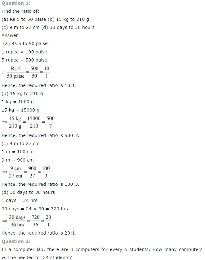 NCERT Solutions for Class 7th Maths Chapter 8 Comparing Quantities Exercise 8.1