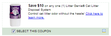$10/1 Genie Cat Litter Disposal System Coupon