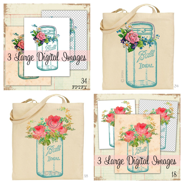 Vintage mason ball jars digital images by FPTFY2
