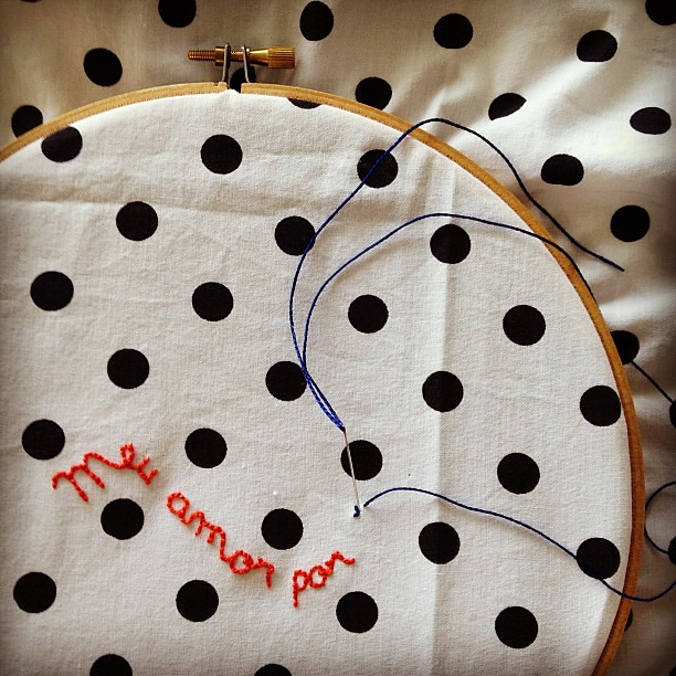 Polka dots, always. #embroidery