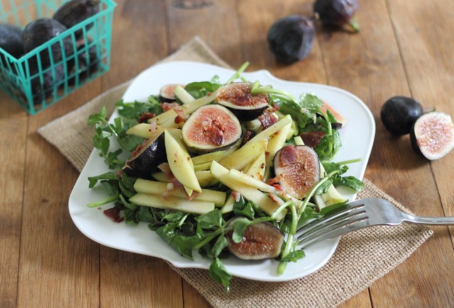 Apple and fig salad with maple dijon dressing