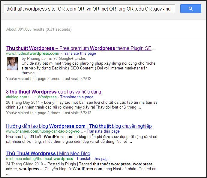 Tìm các website có cùng nội dung trên Google
