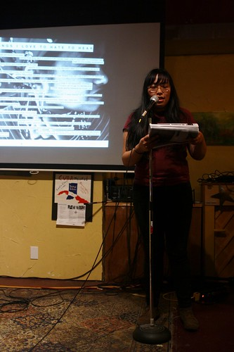 Anna Vo reads for the Race Riot! tour stop at Rachael's Cafe in Bloomington, IN on Oct 2, 2012
