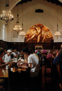 Students dining beneath Prometheus in Frary Hall in 1988