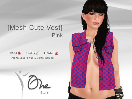 Mesh Cute Vest Pink