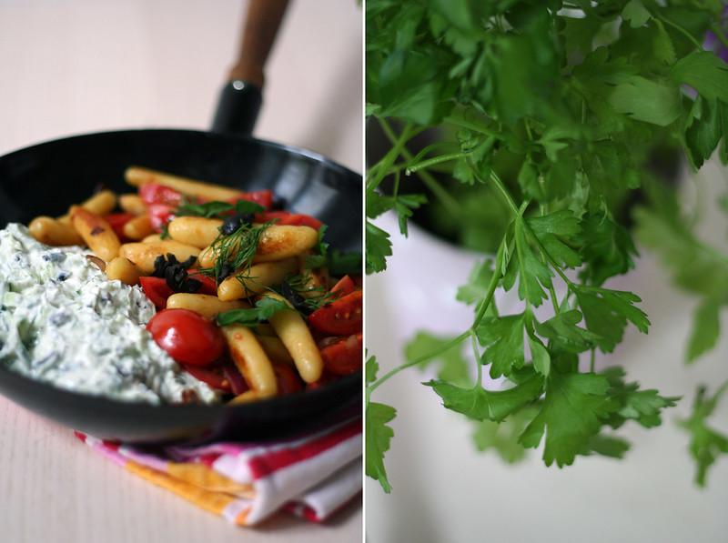 schupfnudeln mit pikantem oliventopfen