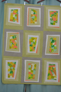 Celery and Tangerine Wonky Windows Quilt