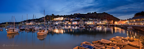 uk panorama night harbour jersey bluehour channelislands staubin