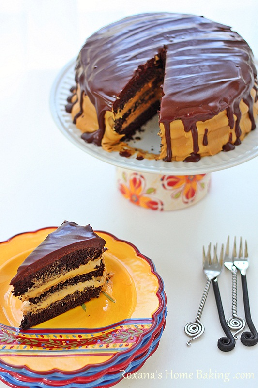 Chocolate Cake with Dulce de Leche Frosting | Roxanashomebaking.com