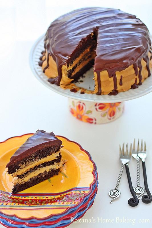 Chocolate Cake with Dulce de Leche Frosting | Roxanashomebaking.com