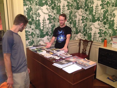 Me offering books and some awesome liberty swag to one of our new members