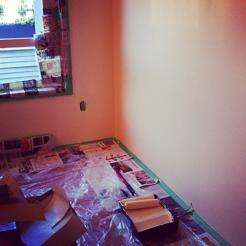 "The first coat of ""Durango dust"" (aka cream) is on the first two walls. Coat two commencing now."