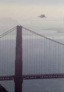 Endeavour over the Golden Gate Bridge (ACD12-0146-007)