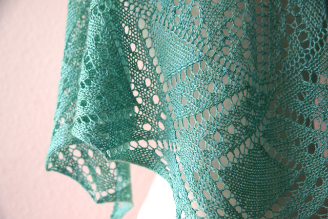 New Pattern Alert Green Peacock One Skein Shawl