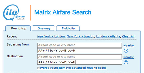 ITA Software Matrix Business Class Fares Search