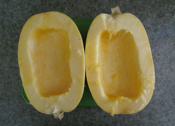 Spaghetti Squash Halved and Deseeded