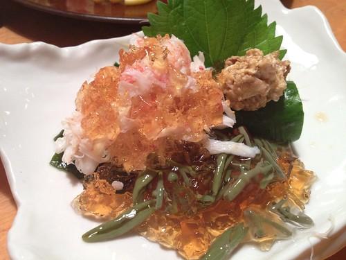 カニとジュンサイのポン酢ジュレ@すし屋魚真 下北沢店