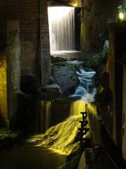 Saarburg waterfall at night