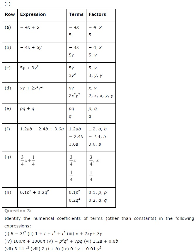 NCERT Solutions for Class 7th Maths Chapter 12 Algebraic