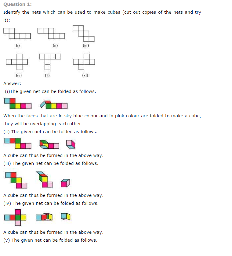 NCERT Solutions For Class 7th Maths Ch 15 Visualising Solid Shapes