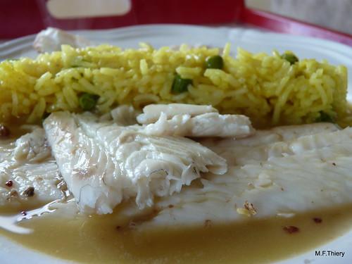 sole au cidre et riz aux petits pois