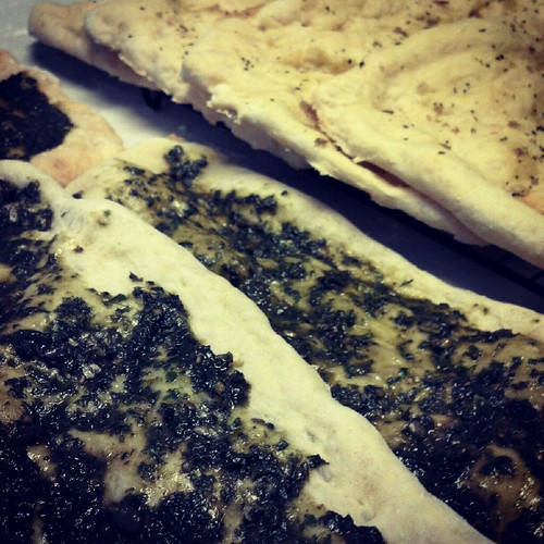 Pesto and Rosemary-Olive Oil Flatbread
