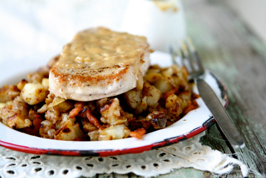 Pork Chops with Maple Gravy and Apple Bacon Hash