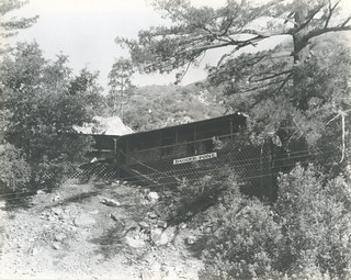 "Kappa Delta fraternity cabin in 1926-27. The sign on the cabin reads ""Dagger Point."""