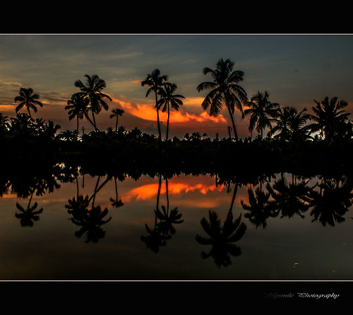 sunset india lake landscape kerala scenary kochi