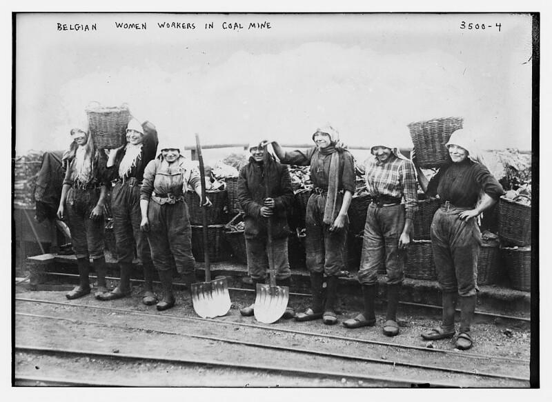 Mujeres trabajadores belgas en la mina de carbón (LOC)