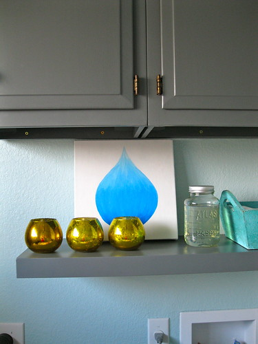 water drop painting on shelf