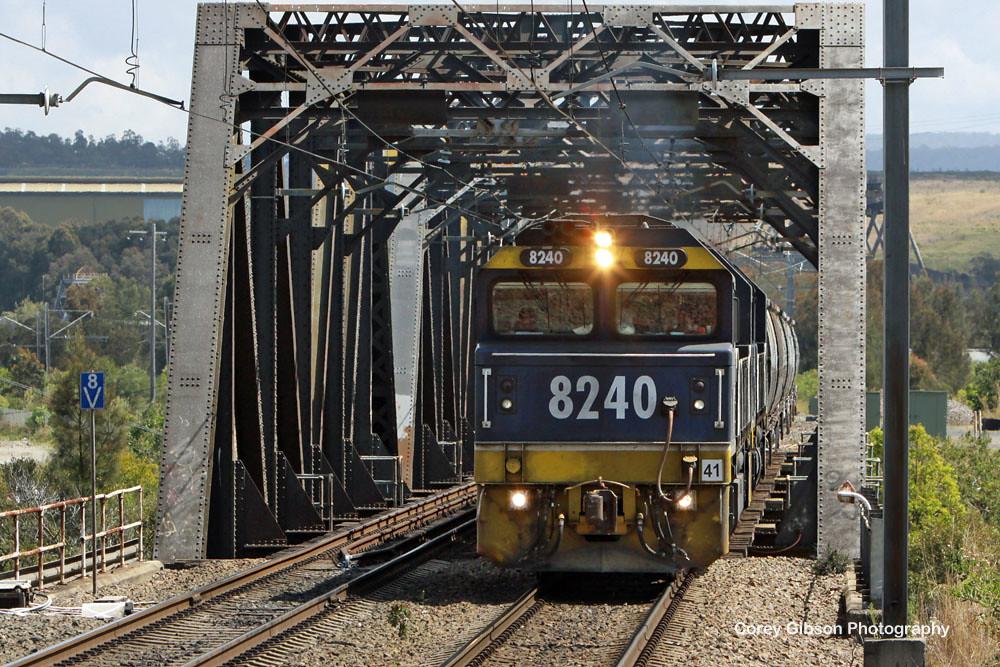 8240 crossing Cockle Creek bridge by Corey Gibson
