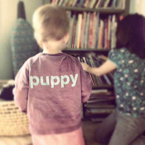 Puppy. Handed-down mini-boden. Seemed like the perfect fit for my bird dog.