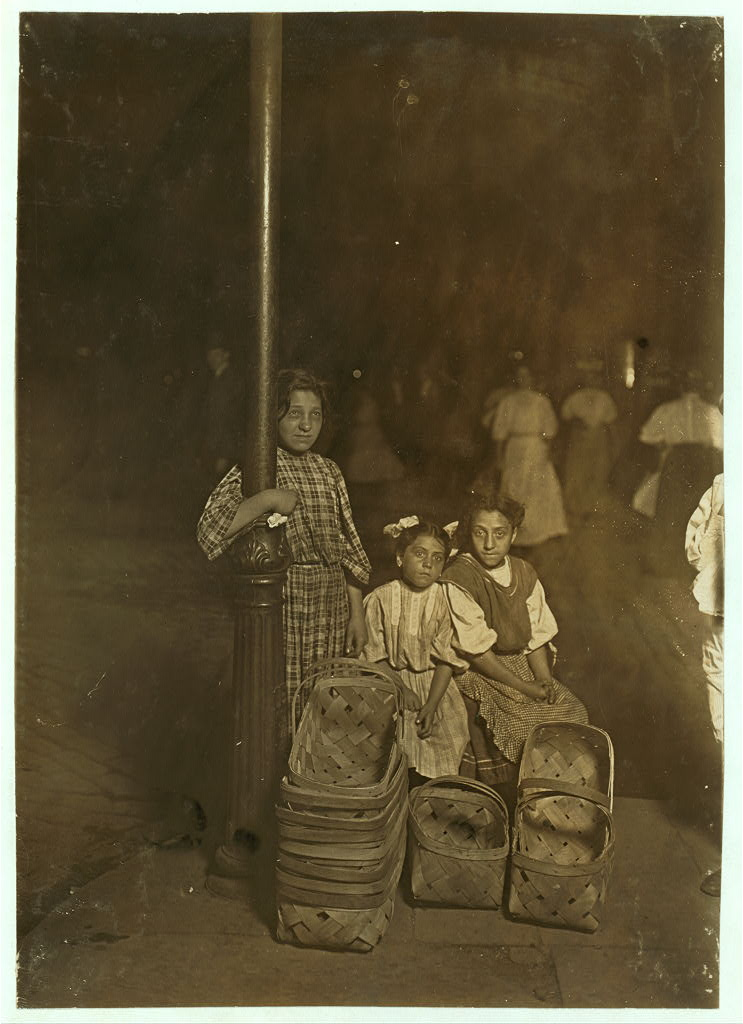 Marie Costa, Basket Seller, 605 Elm St., Sixth St. Market, Cincinnati. 9 P.M. Had been there since 10 A.M. Sister and friend help her. Location: Cincinnati, Ohio