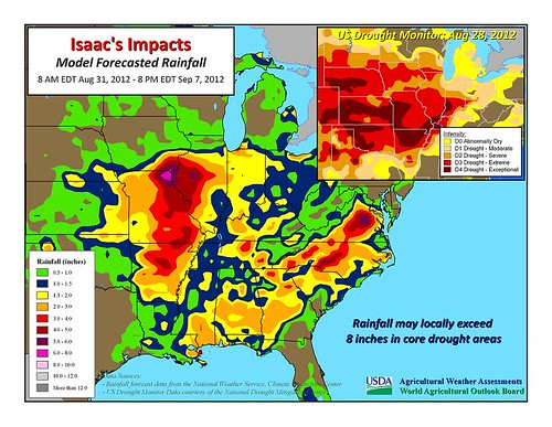Isaac's Impacts: Model Forecasted Rainfall, August 31, 2012