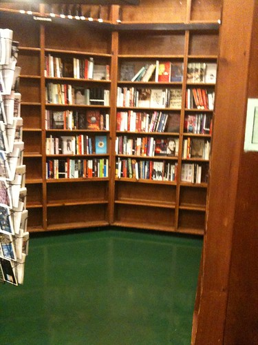 Empty fiction shelves, St. Mark's Bookshop