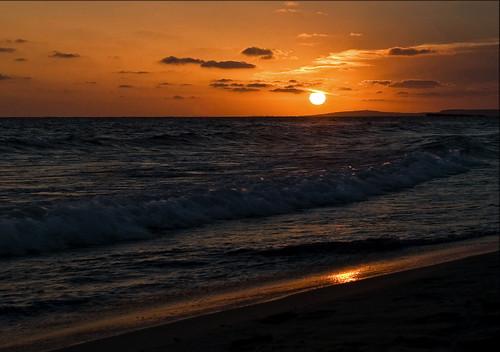 無料写真素材, 自然風景, 海, ビーチ・海岸, 朝焼け・夕焼け