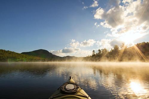 mist lake mountains sunrise vermont newengland steam kayaking vt northeastkingdom lakeeden