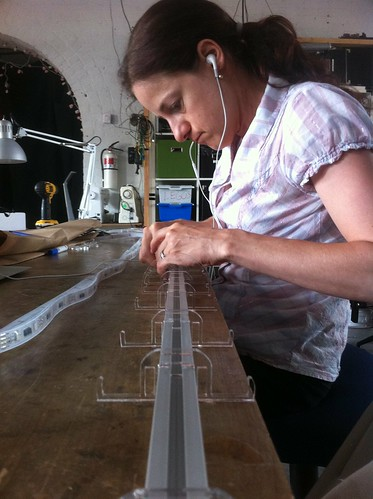 Aligning the acrylic standoffs