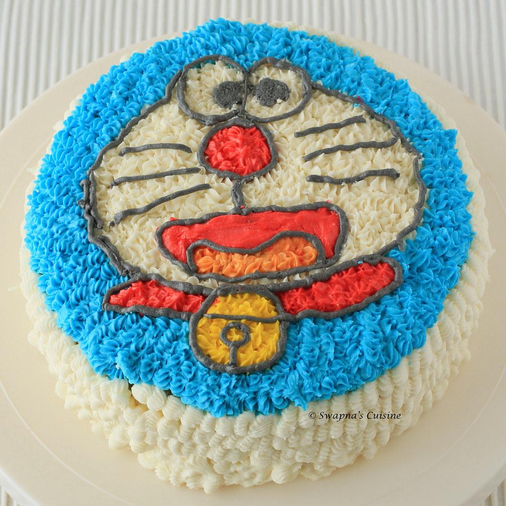 Swapnas Cuisine Doraemon Cake Black and White Layer Cake with