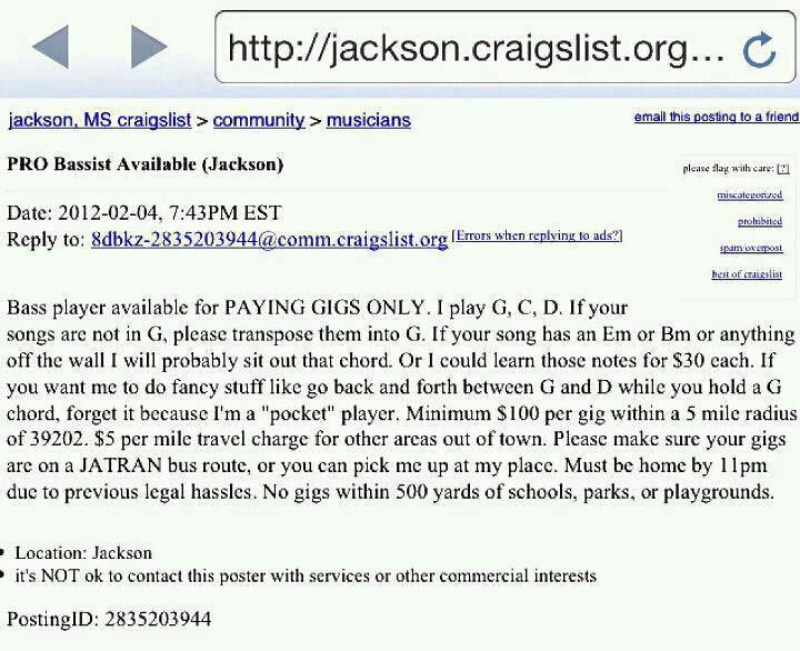 Funny craigslist ad the acoustic guitar forum Wyoming craigslist farm and garden