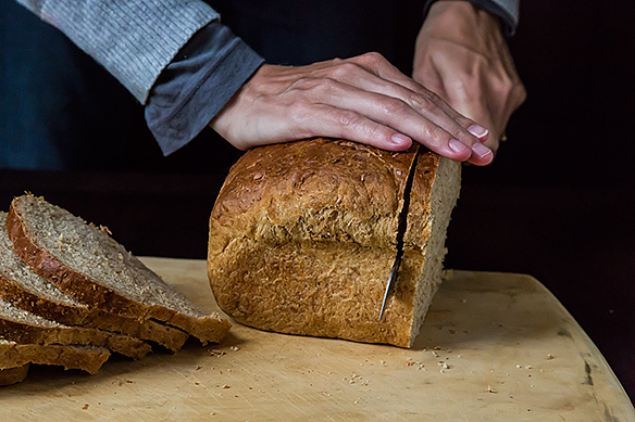Slicing the bread