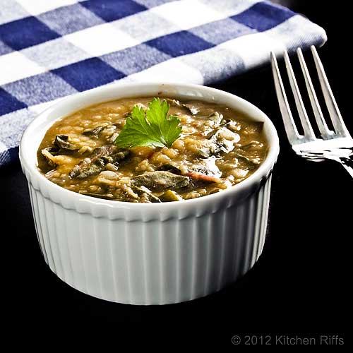 Dal with Swiss Chard in Ramkein, with Napkin and Fork