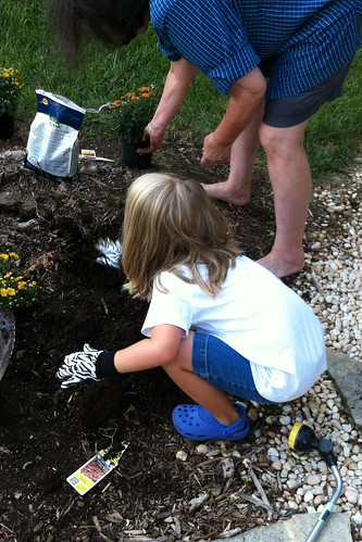 Catie & my mom gardening together