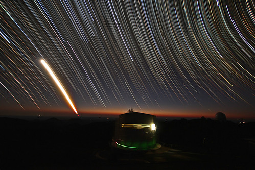Startrails and Moon rising over the 2.3m ANU Telescope