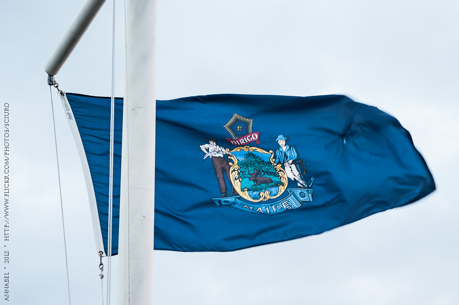 Bar Harbor Flag post