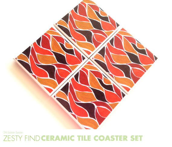 {zesty find} ceramic tile coasters