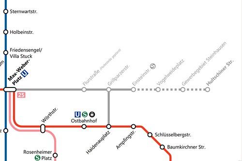Netzplanausschnitt zur Planung der Trambahn nach Steinhausen