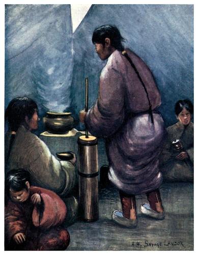 001-Preparando el te con mantequilla-Tibet & Nepal-1905-A. H. Savage-Landor